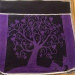 This piece with a black panel behind it, will become the pocket on the back of the bag